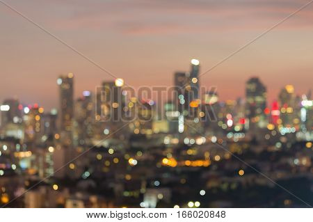 Abstract blurred City office building lights night view