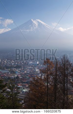 Fuji mountain with residence downtown aerial view Japan natual landscape background