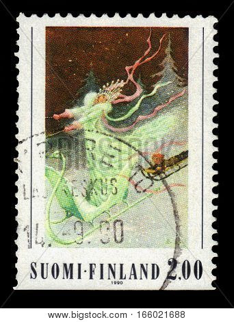 FINLAND - CIRCA 1990: a stamp printed in Finland shows illustration by Rudolf Koivu to a fairy tale Ice Queen, 100th Birth Day of Rudolf Koivu, circa 1990