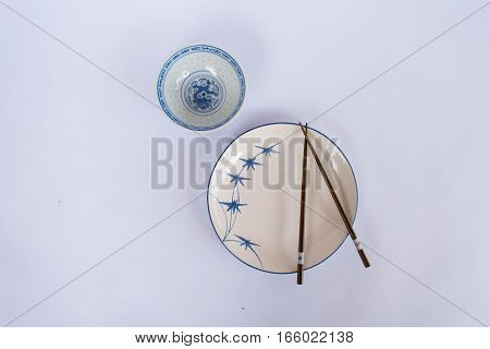 Plates and bowls chopsticks prepared for the Chinese people.