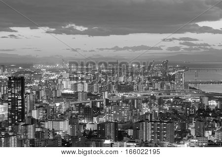 Black and White city of Osaka central business downtown Japan