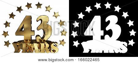 Golden digit forty three and the word of the year decorated with stars. 3D illustration