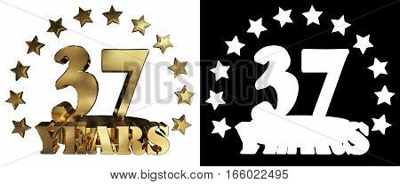 Golden digit thirty seven and the word of the year decorated with stars. 3D illustration