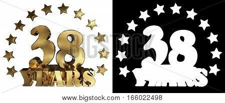 Golden digit thirty eight and the word of the year decorated with stars. 3D illustration