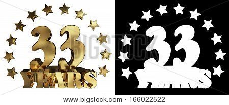 Golden digit thirty three and the word of the year decorated with stars. 3D illustration