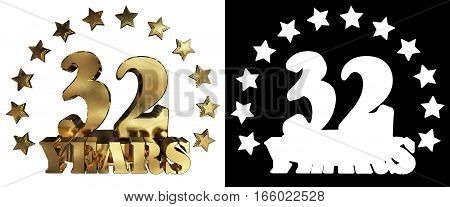 Golden digit thirty two and the word of the year decorated with stars. 3D illustration
