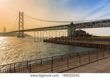 Akashi Kaikyo Suspension Bridge in Kobe Japan The world's longest suspension bridge.