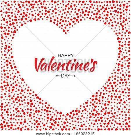 Abstract Red Hearts Background for Valentines Day Design Vector Illustration Card with White Heart Frame. Wedding Invitation Card. Happy Valentine's Day Lettering with arrow.  Logo for medical.
