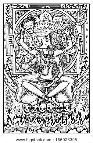 Kali, Indian hindi goddess with death symbols. Fantasy magic creatures collection. Hand drawn vector illustration. Engraved line art drawing, graphic mythical doodle. Template for card game