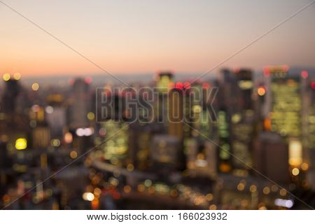 Blurred lights Osaka city business downtown abstract background