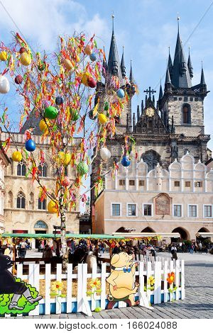 CZECH REPUBLIC PRAGUE - MARCH 2016: famous easter market Old town square Prague Czech republic. Traditional celebration of easter holiday in historical centre of Prague (UNESCO).