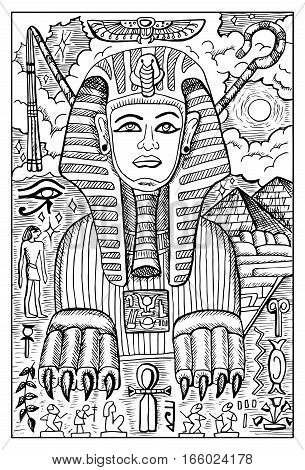 Sphinx. Egyptian mythological creature with human head and lion body. Fantasy magic creatures collection. Hand drawn vector illustration. Engraved line art drawing, graphic mythical doodle