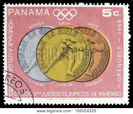 PANAMA - CIRCA 1968 : Cancelled postage stamp printed by Panama, that shows Olympic medals.