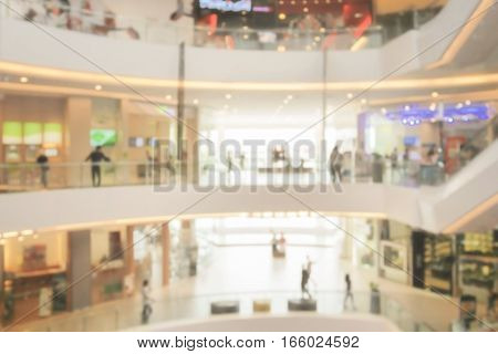 Blurred interior of department store for background