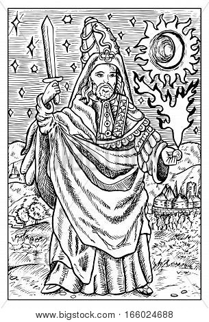 Magician, wizard or warlock. Medieval character with magic fire. Fantasy magic creatures collection. Hand drawn vector illustration. Engraved line art drawing, graphic mythical doodle