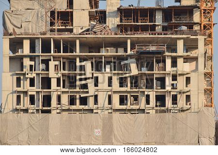 Installation Progress For Pre-cast Wall Construction Site