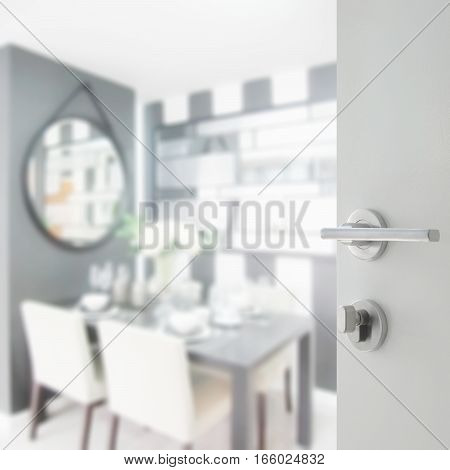 Opened White Door To Dining Room With Table Ware On Dining Table