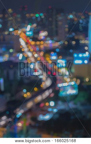 Aerial view blurred lights city and street abstract background