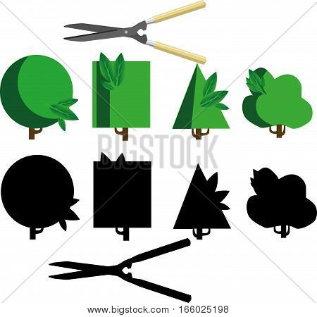 Bush cutting with scissors and silhouettes solated on the white background