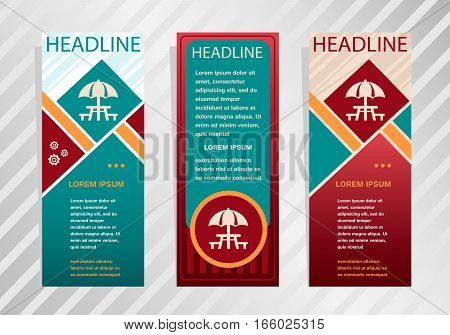 Camping And Picnic Table Icon On Vertical Banner