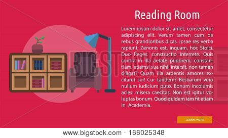 Reading Room Conceptual Banner | Great flat illustration concept icon and use for education, science, learning, reading and much more.