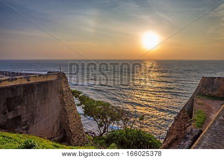 Beautiful romantic view of sunset from walls of old colonial fort Galle, Sri Lanka