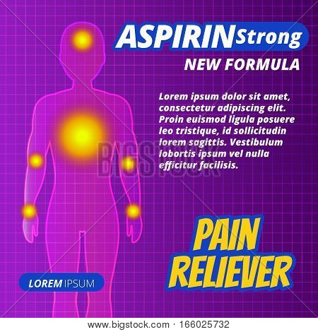 Medicine Pill Or Drug Ads, Painkillers, Aspirin Strong Tablets Label. Human Silhouette With Pain Foc