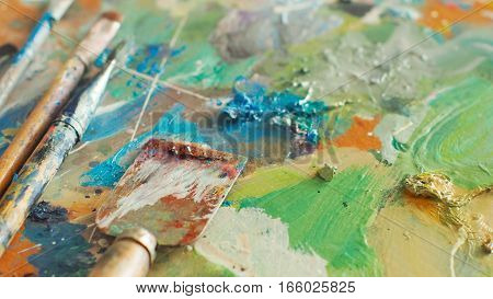 Brush And Bright Oil-paint Palette For Background