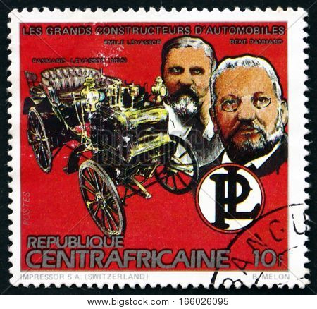 CENTRAL AFRICAN REPUBLIC - CIRCA 1983: a stamp printed in Central African Republic shows Emile Levassor and Rene Panhard and 1895 Car circa 1983