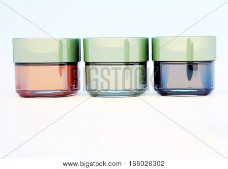Jars of cosmetic clay isolated on white background.  3D illustration