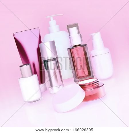 Set of cosmetic cream. Daily beauty care cosmetic. Face cream eye cream serum and lip balm. Pink background.  3D illustration