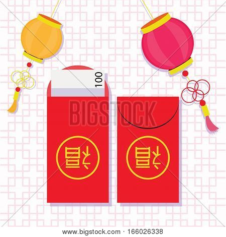 Chinese new year red money packet (Ang Pau) with The chinese character