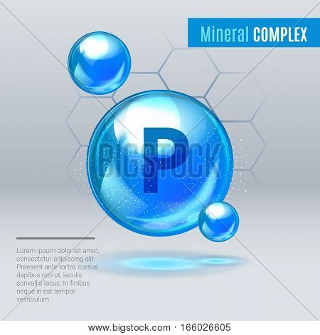 Mineral P Phosphorus Blue Shining Pill Capcule Icon . Mineral Vitamin Complex With Chemical Formula