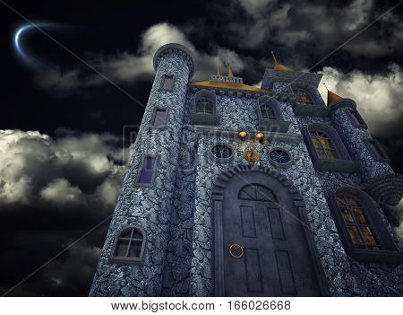 The beauty old fairytale castle. 3d rendering