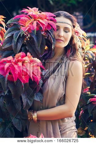 Young Woman, Flowers;  Boho Style, Beauty, Dream, Love