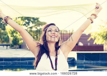 Young Woman, Happy, City, Boho Style, Beauty, Fun
