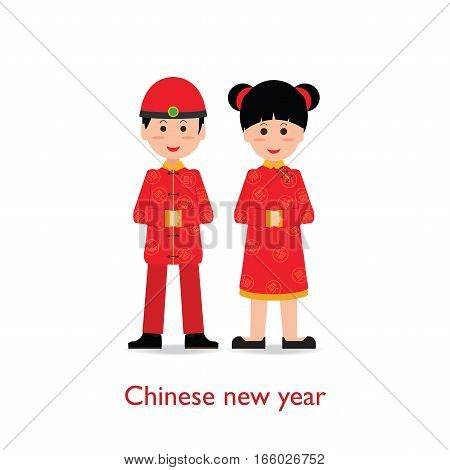 Chinese Boy and Girl dolls isolated on white background Chinese New Year cartoon character flat design vector illustration.