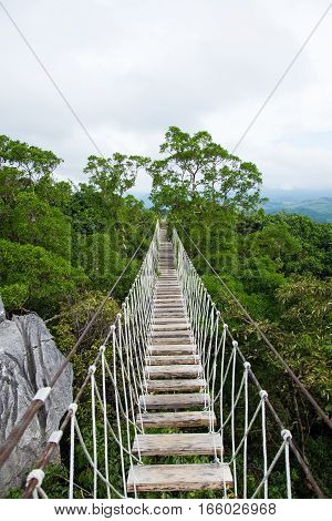 long hanging bridge in Masungi Reservoir, Rizal, Philippines