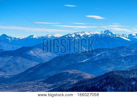 Winter mountains panorama with snow on tops of rocks