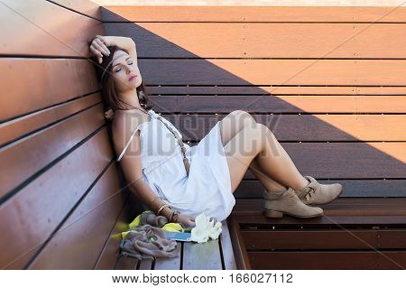 Young Woman, Flowers, Wooden Bench, Boho Style, Beauty, Dream, Love