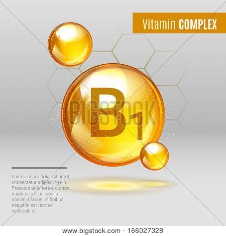 Vitamin B1 Gold Shining Pill Capcule Icon . Vitamin Complex With Chemical Formula, Group B, Thiamine