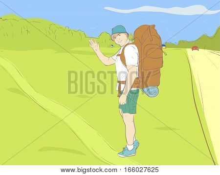 Tourist with a large backpack with hat ready to conquer new horizons. Forest field grass car and small houses in the background.