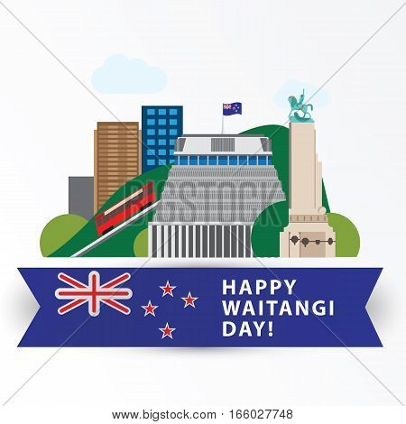 Happy Waitangi day, 6 February. New Zeland Wellington Greatest landmarks as symbol of the country. Web banner or greeting card.