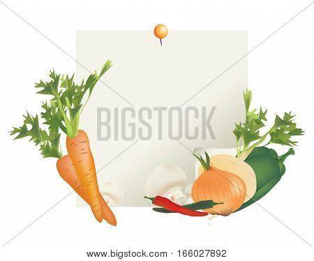 Vegetable Ingredients Note for Recipe. Carrot, Peppers, Mushroom, Beetroot and Onion