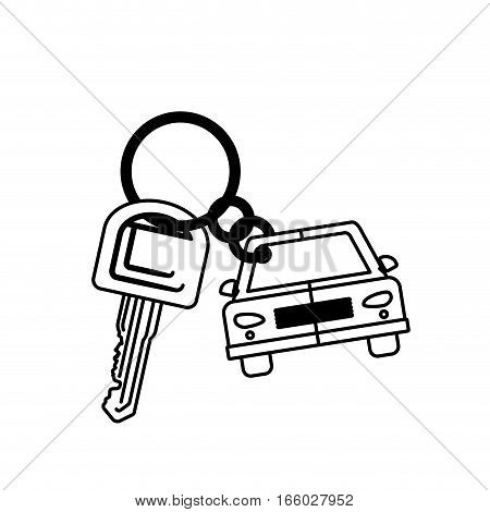 silhouette car shaped key chain icon vector illustration