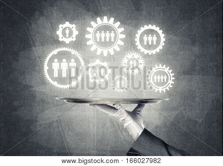 Hand of butler presenting net connection concept on metal tray