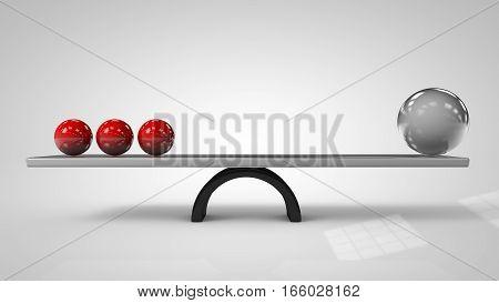 3d illustration of Balancing balls on board conception 3d illustation