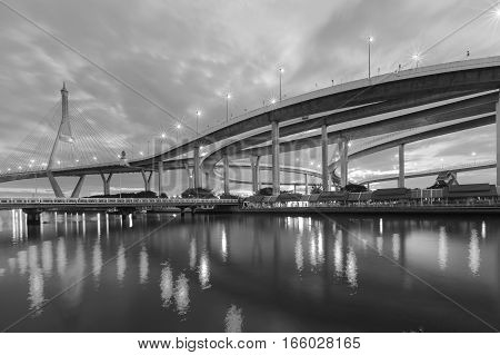 Black and White Suspension over watergate connect to highway interchanged Bangkok Thailand