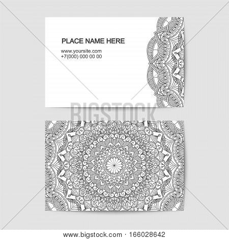 Visit Card Template With Lace Pattern