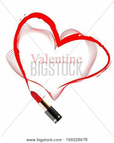 Heart drawn red lipstick on a white background
